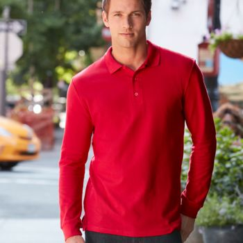 Gildan Long Sleeve Premium Cotton® Double Piqué Polo Shirt Thumbnail