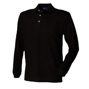 Henbury Long Sleeve Cotton Piqué Polo Shirt Thumbnail