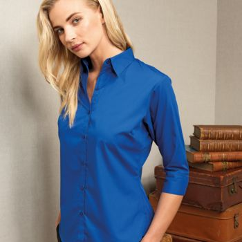 Premier Ladies 3/4 Sleeve Poplin Blouse Thumbnail