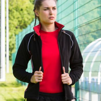 Finden and Hales Ladies Contrast Micro Fleece Jacket Thumbnail