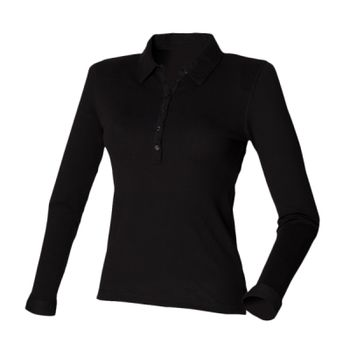 SF Ladies Long Sleeve Stretch Polo Shirt Thumbnail