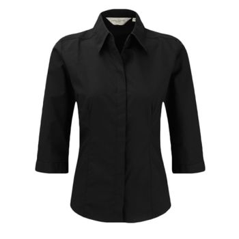 Russell Collection Ladies 3/4 Sleeve Fitted Poplin Shirt Thumbnail