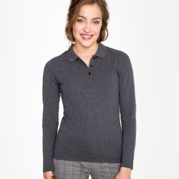 SOL'S Ladies Perfect Long Sleeve Piqué Polo Shirt Thumbnail