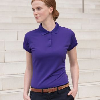 Henbury Ladies Coolplus® Wicking Piqué Polo Shirt Thumbnail