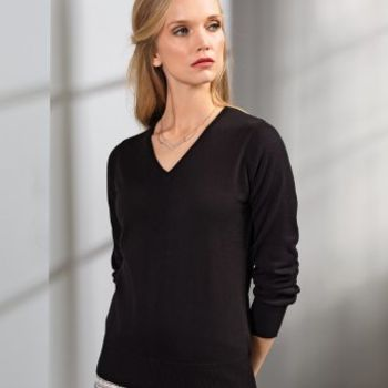 Premier Ladies Knitted Cotton Acrylic V Neck Sweater Thumbnail